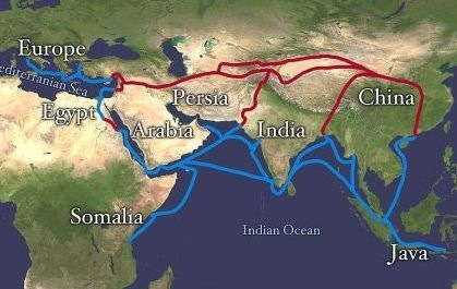 Map of the Silk Road - Route in red - Later ocean routes in blue