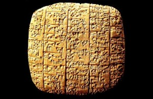 Example of cuneiform wedge-writing on clay—c. 2600 BC
