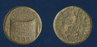 A sestertius struck by Titus in 80 AD to commemorate the opening of the Colosseum. Note the spectators inside the building. The coin sold for $146,850 in 2012.