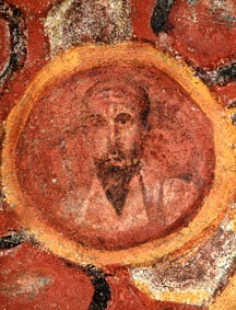 Painting of Paul in catacombs of St. Thecla