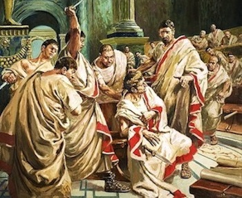 """Thereupon they attacked him from many sides at once and wounded him to death, so that by reason of their numbers Caesar was unable to say or do anything, but veiling his face, was slain with many wounds."""
