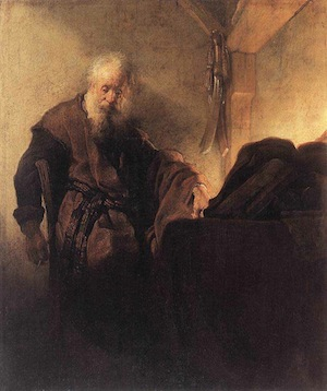 Paul at his writing desk—Rembrandt, c.1629