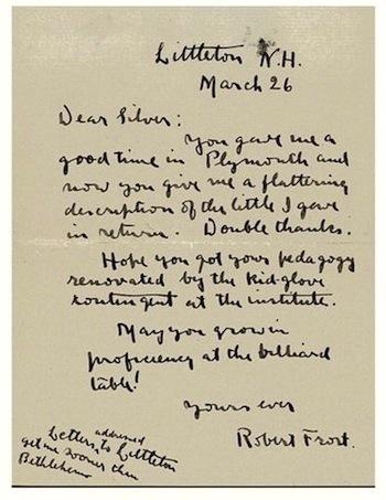 Robert Frost letter, c. 1890's