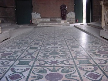 The Roman Senate Floor with multiple marble types from all over the Empire to show they ruled the world. Julius Caesar fell dead on this floor.