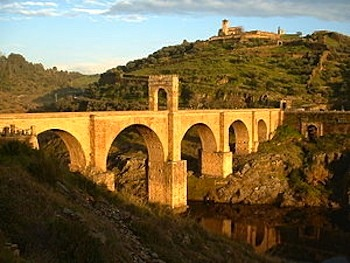 The Alcántara Bridge in Spain is a masterpiece of ancient Roman bridge building.