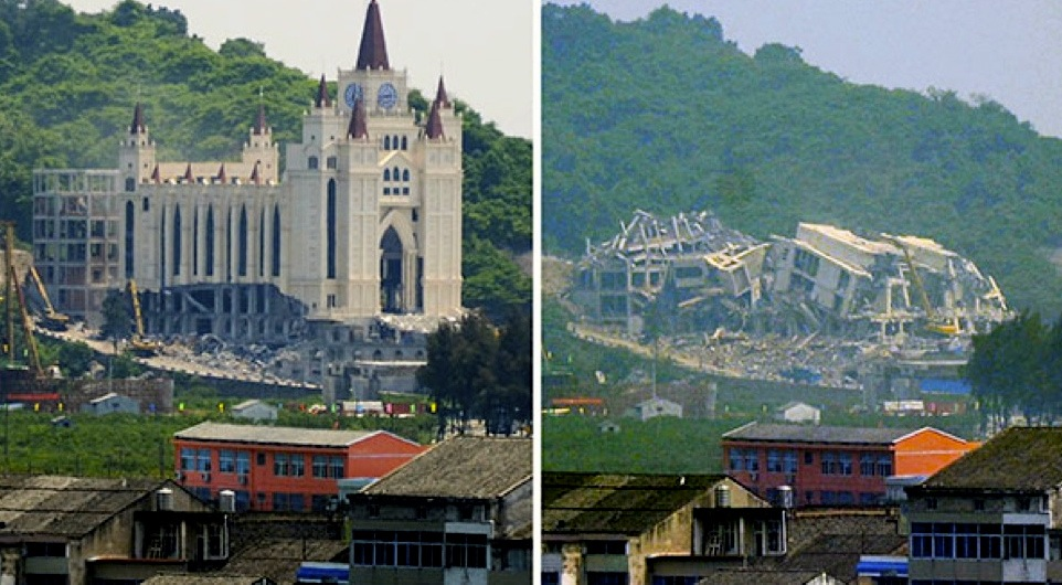 The demolition of the Sanjiang church in Wenzhou marked the start of a state campaign to rein in the rise of Christianity. This has included harassment, detentions, removing crosses and destroying churches in Wenzhou and throughout Zhejiang Province. Photo at left shows the church on April 28 2014 and at right, the day after.