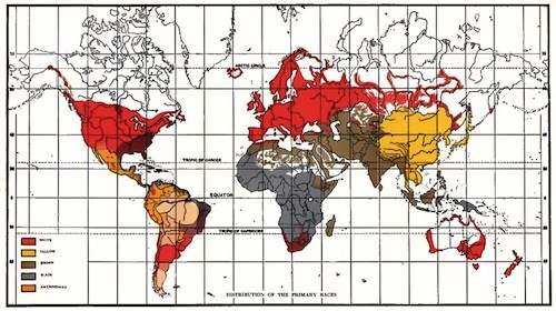 1920 map showing the world classified according to skin color