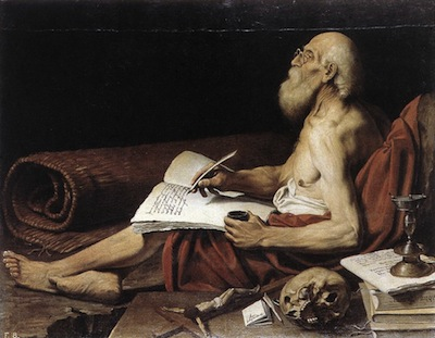 Painting by Lionello Spada, c. 1610's, of Jerome in his hermit's cell