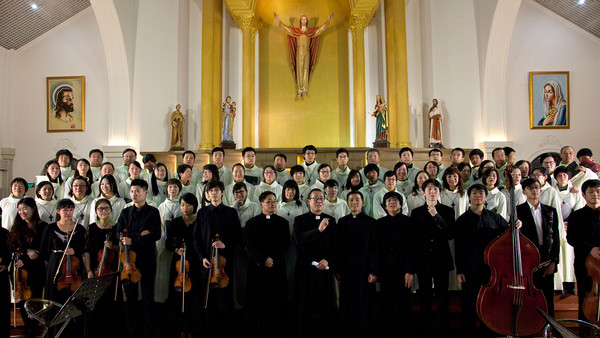 Christmas concert at St Peter's Catholic church, Shanghai. Chinese Catholics are only permitted to attend churches controlled by the Chinese Patriotic Catholic Association, which answers directly to the Communist party and does not recognize the Pope.