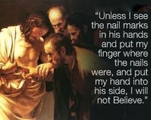 Doubting Thomas— Caravaggio, c. 1602