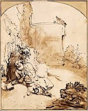 Prophet Jonah Before The Walls of Nineveh— Rembrandt, c. 1655