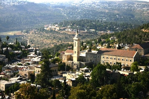Modern city of Ein Karem with Church of John The Baptist in foreground