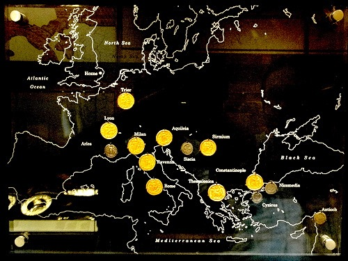 Path of the early Christian Romans into Western Europe and the places where the Hoxne Horde coins were minted.