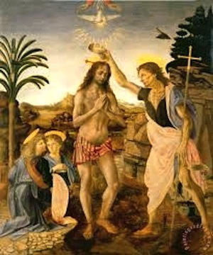 Baptism of Christ by John. Painted by Andrea del Verrochio in c. 1472-1475 with some contribution by Leonardo da Vinci