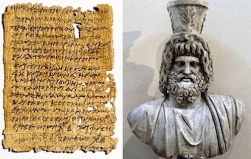 Papyrus letter from ancient Egypt and the god Serapis