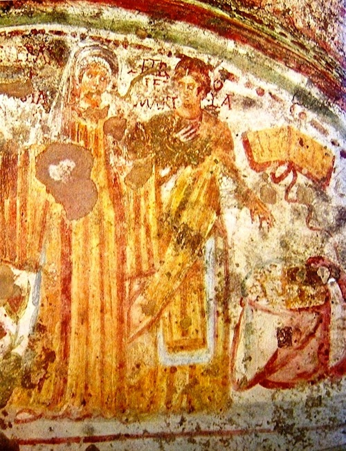 Fresco of Petronilla and Veneranda in the Catacomb of Domitilla