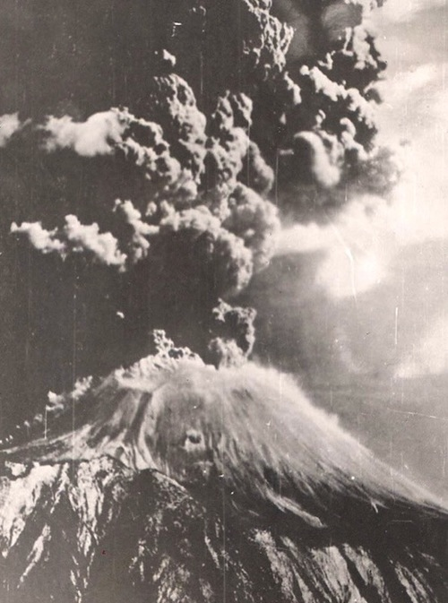 Eruption of Vesuvius photo taken March 1944 by Jack Reinhardt, B-24 tail gunner in the USAF during WW II