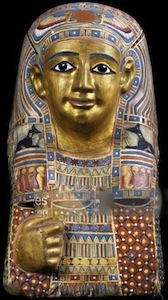 Mummy head made of car tonnage, gilded