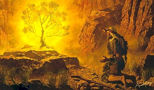 Moses and the Burning Bush—Painting by Arnold Friberg (1913-2010)