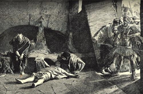 Death of Nero—Engraving by Englebert Kaempfer, 1651 - 1716