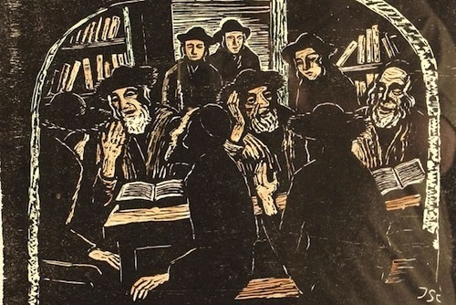 Rabbis Studying Torah— Woodcut by Jakob Steinhardt (1887-1968)