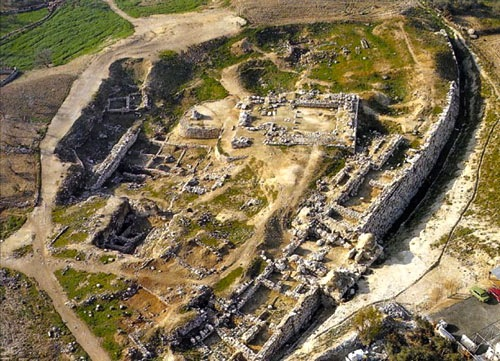Aerial view of the ruins of Shechem