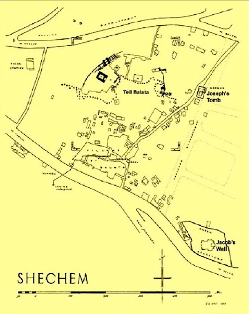Map of Shechem area showing the location of Tell Balata (ancient Shechem), Joseph's tomb and Jacob's Well