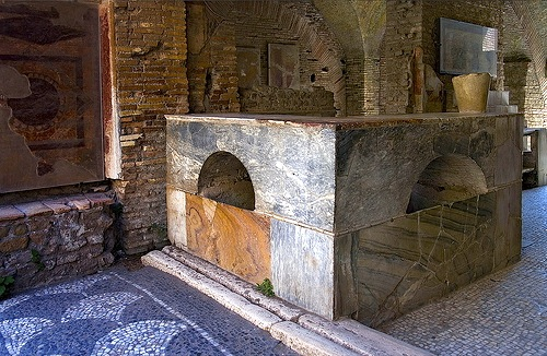 Ancient Roman tavern in Ostia Antic, the location of a harbor city of ancient Rome