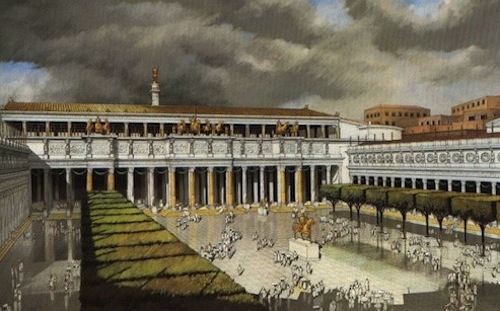 Rendering of Trajan's Market with three stories of shops 1
