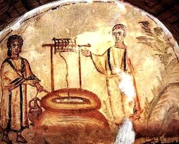 Jesus and Woman at the Well from 300's AD in Via Latino Catacombs