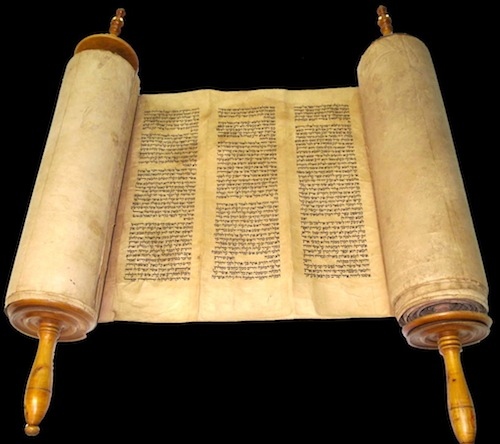 Complete 250-year-old Torah written with black ink on gevil deer parchment
