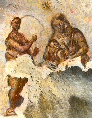 Balaam pointing to Star of Bethlehem in Priscilla Catacomb, c. 160's AD