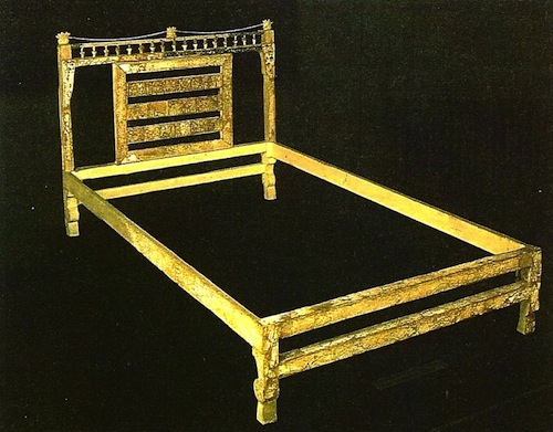 "Gold -gilded ancient Phoenician bed. ""Take ye the spoil of silver, take the spoil of gold: for there is none end of the store and glory out of all the pleasant furniture."" Nahum 2:9, c. 630 BC, prophesying the destruction of Babylon in 539 BC."