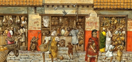 Crowded shops in Ancient Rome