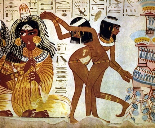 These bare-foot young dancers are naked; musician wearing a pleated garment; a cone of perfumed fat on top of her wig; melting slowly, it perfumes the room; Thebes tomb c. 1400 BC