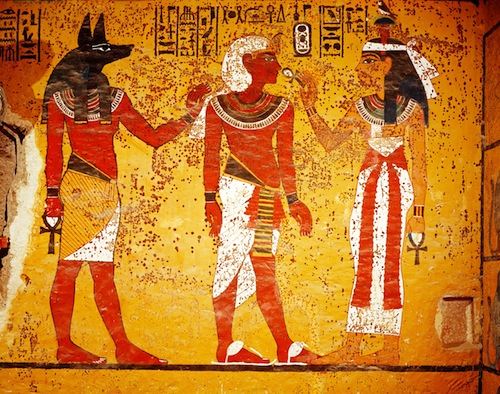Anubis with the head of a jackal; ancient Egyptian god of the underworld and embalming