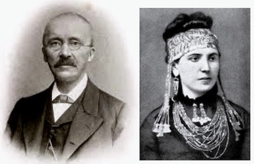 Heinrich & Sophie Schliemann. Sophie is wearing the gold of Priam's Treasure.