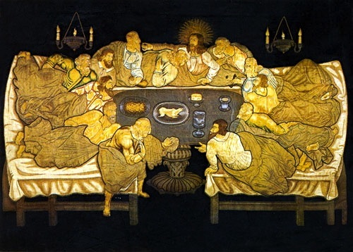 At the Last Supper. Jesus and His Apostles dining, Roman-style. Embroidered altar dossal, 1633