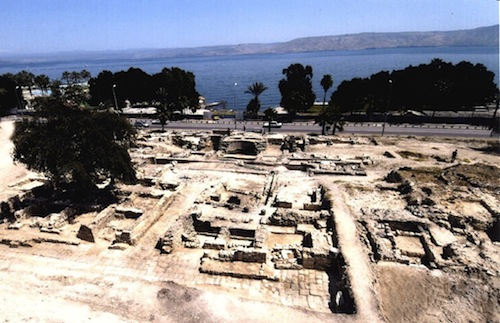 Modern excavations overlooking the Sea of Galilee of the ancient city of Tiberias built by Herod Antipas