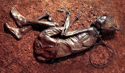 The Tollund Man, found bog-mummified in 1950 on the Jutland Peninsula in Denmark, lived in c. 400 BC.