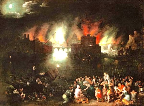 The Burning of Troy—Jan Brueghel the Elder, c. 1621
