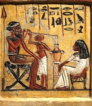 "Egyptian man ""sipping"" beer— c. 1350 BC"