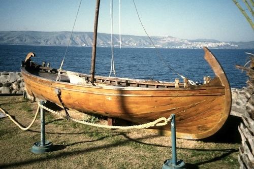 Full-scale model of the Jesus Boat on the grounds of the Kibbutz Ginosar