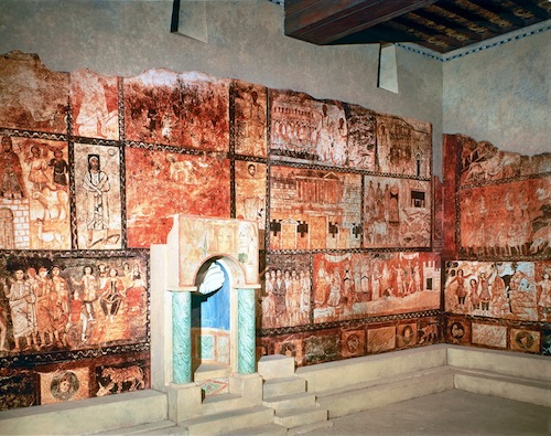 The many murals on the walls depicted New Testament events