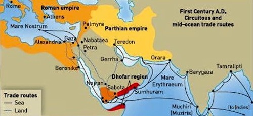 Map showing ancient port of Barygaza, India