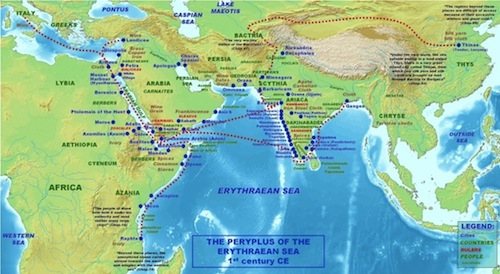 Map of sea trade routes in 100 AD