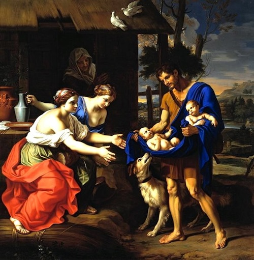 The shepherd Faustulous bringing Romulus And Remus to his wife—Nicholas Mignard (1654)