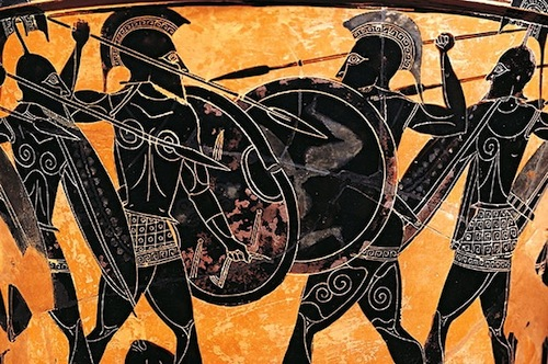Terra Cotta depiction of Spartans in battle, c. 400's BC