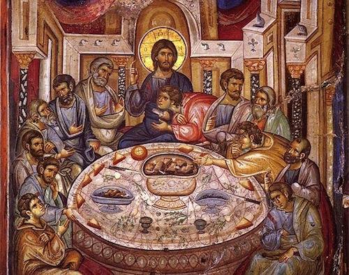 The Mystical Supper - 1312 AD, Vatopedi Monastery, Mt. Athos, Greece