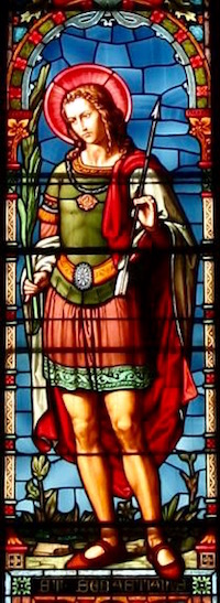 Stained glass window of St. Sebastian dressed as a Roman soldier